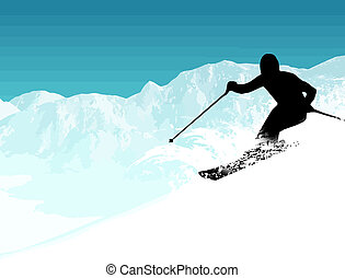 Vector illustration with the skier silhouette on the mountains