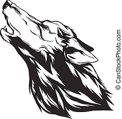 Vector illustration with wolf head