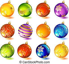 vector illustrations - twelve christmas glass ball