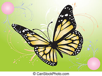 Digitally generated image of a butterfly with green background.