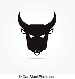 Vector image of an buffalo on white background