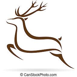 Vector illustration of deer symbol - tattoo