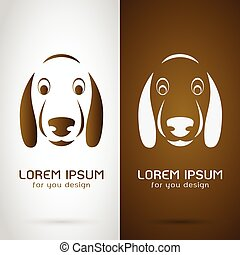 Vector image of an dog face design on white background and brown background, Logo, Symbol