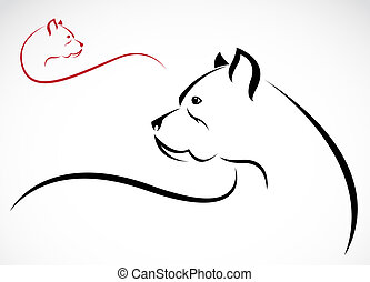 Vector image of an pitbull on white background
