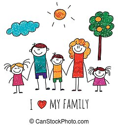 Vector image of big happy family