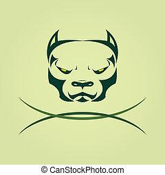 Vector image of head Dog Pitbull.
