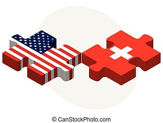 USA and Switzerland Flags in puzzle