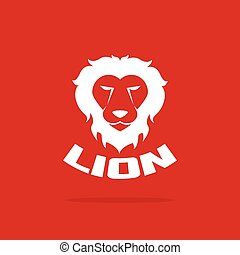Vector images of lion head design on red background.