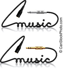 vector jack connectors music calligraphy