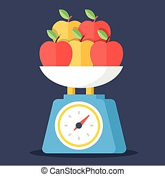 Vector kitchen scales and apples
