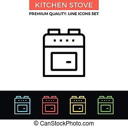 Vector kitchen stove icon. Thin line icon