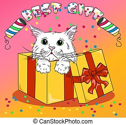 vector kitty in colored box with confetti best gift to baby