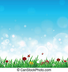 Vector Illustration of a Landscape with Grass and Flowers