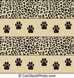 vector leopard background with paws seamless pattern