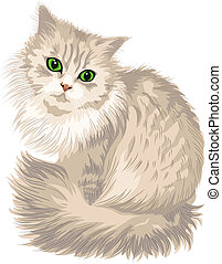 cute lilac cat with green eyes, isolated on the white background
