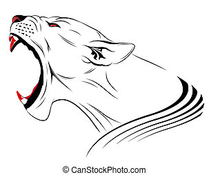 Vector lioness represented in the form of a tattoo