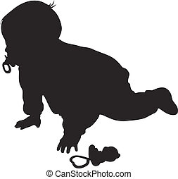 Vector little baby silhouette against the white background