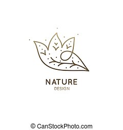 Vector logo abstract trees. Linear emblem forest for design of natural products, organic shop, flower shop, cosmetics and ecology concepts, health, spa and yoga Center.