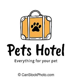 Vector logo for a Pets hotel with bag and paw