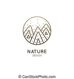 Vector logo of mountains. Linear icon of mountain landscape with snow - business emblems, badge for a travel, branding, ecology concepts, health, spa, yoga Center