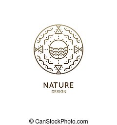 Vector logo of nature abstract elements. Round sacred symbol. Outline icon of abstract landscape - lake, clouds - business emblem for design cards, packaging, zen, ecology, health concepts, yoga