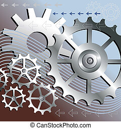 Vector gears engineering technology, mechanical background, full scalable vector graphic included Eps v8 and 300 dpi JPG.