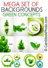 Vector mega set of green concepts