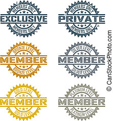 Rubber stamp style member designs. Includes bronze, silver, gold, and platinum levels.