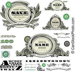 Easy to edit! Set of vector money and financial frames and ornaments. Great for any design showing money and success.