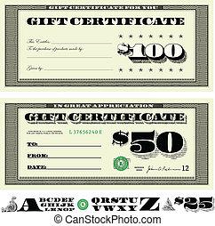 Vector Money Gift Certificate Set