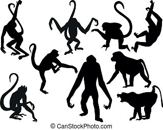 Monkey silhouettes collection - vector