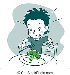 Vector monochrome hand drawn cartoon character illustration of a boy sitting at table with a plate of broccoli, looking disgusted. Picky eater, healthy food and parenting concept design element.