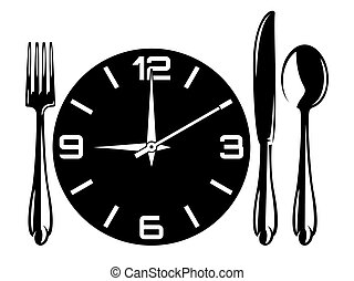 Vector monochrome illustration with fork, spoon, knife, watch