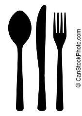 monochrome pattern of dining accessorie - forks, knife, spoon