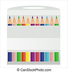 vector multicolored pencils in packing
