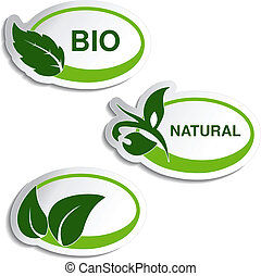 Vector natural symbols - stickers with leaf, plant - illustration