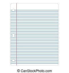 Vector illustration of notebook paper on a white background