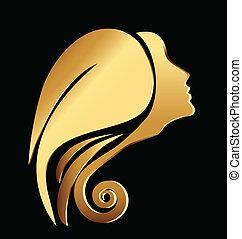 Vector of a gold woman face logo