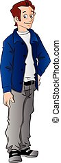 Vector illustration of stylish young man standing with hand on hip.