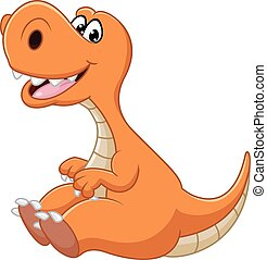 Dinosaur cartoon sitting