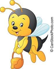 flying Bee cartoon holding honey bu