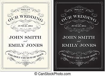 Vector Old Fashioned Wedding Frame Set