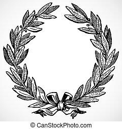 Illustrated laurel wreath. Easy to edit.