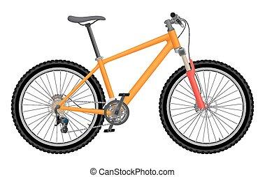 Vector orange bike isolated on white background