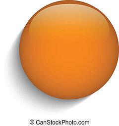 Vector - Orange Glass Circle Button on Orange Background