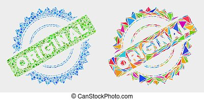 Vector Original Stamp Mosaic Icon of Triangle Elements