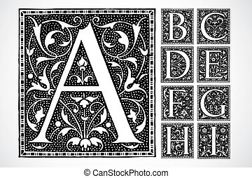Detailed font and alphabet set. Easy to scale to any size.