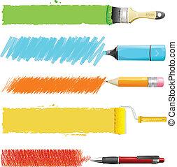 Brushes, marker, pencil, pen