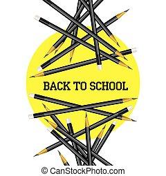 Vector pencil yellow circle back to school