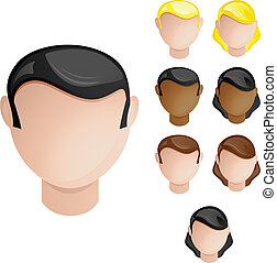 Vector - People Heads Male and Female. Set of 4 hair and skin colors